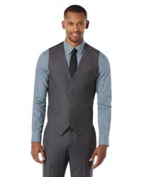 Perry Ellis   Gray Black Quilted Vest for Men   Lyst
