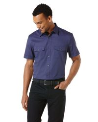 Perry Ellis | Blue Big And Tall Short Sleeve Chambray Stripe Shirt for Men | Lyst