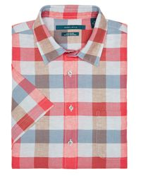 Perry Ellis | Pink Short Sleeve Plaid Linen Shirt for Men | Lyst
