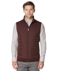 Perry Ellis - Multicolor Horizontal Stripe Quilted Zip Vest for Men - Lyst