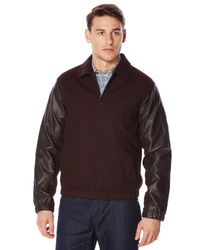Perry Ellis | Brown Mixed Media Bomber Jacket for Men | Lyst
