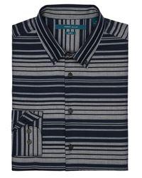 Perry Ellis | Blue Slim Fit Herringbone Stripe Shirt for Men | Lyst
