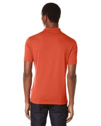 Perry Ellis - Orange Short Sleeve Textured Rib Polo for Men - Lyst