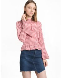 Pixie Market | Red Gingham Smocked Bell Sleeve Top | Lyst