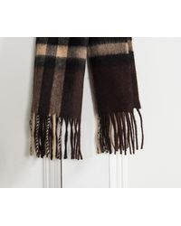 Burberry - Brown Giant Icon Check Cashmere Scarf Chestnut for Men - Lyst