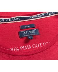 Armani Jeans - Slim Fit Pocket Print Logo T-shirt Red for Men - Lyst