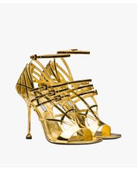 Prada - Metallic Laminated Kid Leather Sandals - Lyst