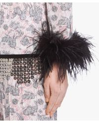 Prada - Gray Printed Sablé Top With Feathers - Lyst