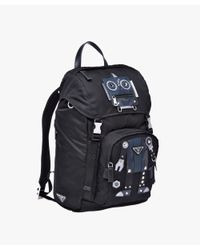 Prada - Black Technical Fabric And Saffiano Leather Backpack for Men - Lyst
