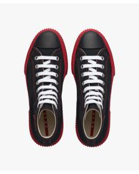 Prada - Black High-top Cotton Sneakers for Men - Lyst