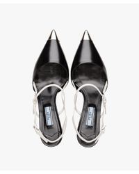 Prada - Black Two-tone Leather Pointy Toe Pumps - Lyst