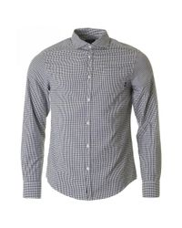 Armani Jeans | Blue Slim Fit Seersucker Checked Shirt for Men | Lyst