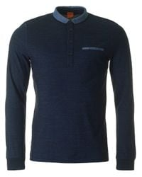 BOSS Orange | Blue Patcherman Long Sleeved Jersey Polo for Men | Lyst