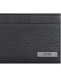 HUGO - Black Element Leather Card Holder for Men - Lyst
