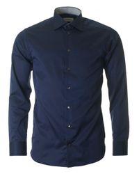Eton of Sweden - Blue Contrast Trim Poplin Slim Fit Shirt for Men - Lyst