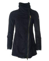 Armani Jeans | Black Faux Shearling Zip Through Coat | Lyst