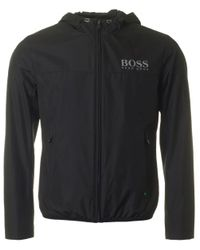 BOSS Athleisure - Black Jeltech Reflective Logo Hooded Jacket for Men - Lyst