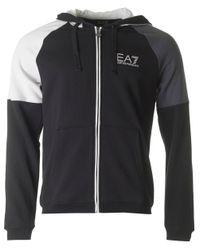 EA7 - Black Tri Tonal Fleece Zip Through Hoody for Men - Lyst