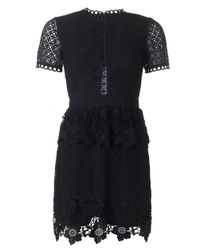 Ted Baker | Black Layered Lace Skater Dress | Lyst