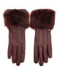 Ted Baker | Multicolor Fur Trim Leather Gloves | Lyst