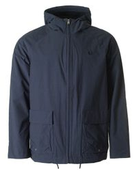 Fred Perry | Blue Hooded Zip Through Jacket for Men | Lyst