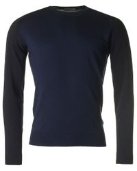 John Smedley - Blue Hindlow Contrast Sleeve Merino Crew Knit for Men - Lyst