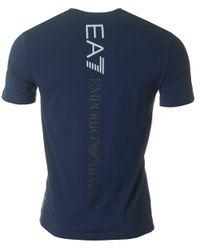 EA7 - Blue Train Logo Back Crew Neck for Men - Lyst