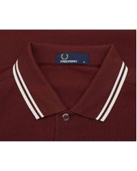 Fred Perry Red Slim Fit Twin Tipped Polo for men