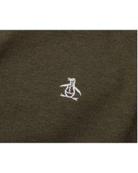 Original Penguin - Green Pique Long Sleeved Crew Neck for Men - Lyst