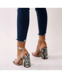 Public Desire - Gray Charlotte Perspex High Heels In Grey Faux Snake - Lyst