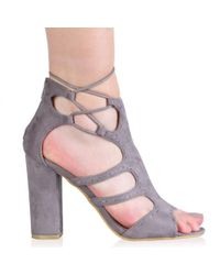 Public Desire - Gray Paulette High Heels In Grey Faux Suede - Lyst