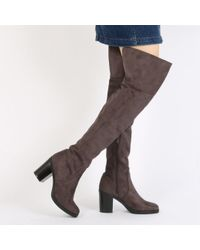 Public Desire | Gray Lisa Split Back Block Heel Long Boots In Dark Grey Faux Suede | Lyst