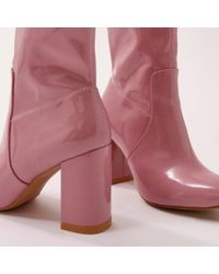 Public Desire - Raya Pointed Toe Ankle Boots In Pink Patent - Lyst