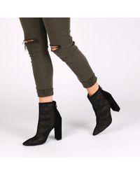 Public Desire   Cinthia Lace Front Ankle Boots In Black Faux Suede   Lyst