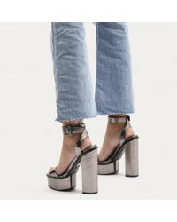 Public Desire   Multicolor Valencia Metallic Platform Heels With Trim In Pewter   Lyst