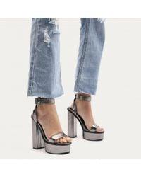 Public Desire - Multicolor Valencia Metallic Platform Heels With Trim In Pewter - Lyst