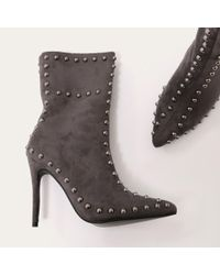 Public Desire - Gray Artemis Studded Stiletto Ankle Boots In Dark Grey Faux Suede - Lyst