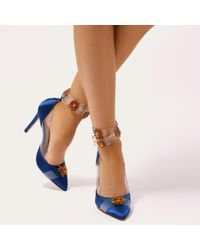 997fb80bf2a Lyst - Public Desire Camly Embellished Perspex Court Heels In Navy ...