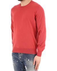 Brunello Cucinelli - Red Crew-neck Wool-blend Sweater for Men - Lyst