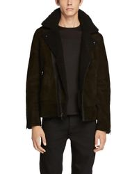 Rag & Bone | Black Shearling Moto Jacket for Men | Lyst