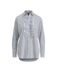 Polo Ralph Lauren   Blue Ruffle Stripe Boyfriend Shirt   Lyst