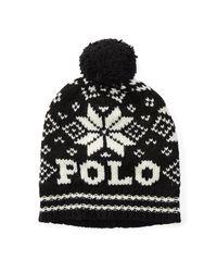 Polo Ralph Lauren   Black Polo Knit Wool Hat   Lyst