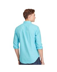Polo Ralph Lauren - Blue Slim Garment-dyed Cotton Shirt for Men - Lyst