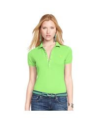 Polo Ralph Lauren | Green Skinny Fit Stretch Mesh Polo | Lyst