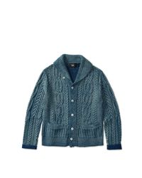 RRL | Blue Indigo Cotton Shawl Cardigan | Lyst