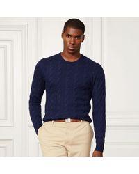 Ralph Lauren Purple Label | Blue Cable-knit Cashmere Sweater for Men | Lyst