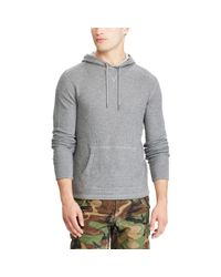 Polo Ralph Lauren - Gray Waffle-knit Cotton Hoodie for Men - Lyst
