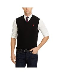 Polo Ralph Lauren - Black Cotton V-neck Vest for Men - Lyst