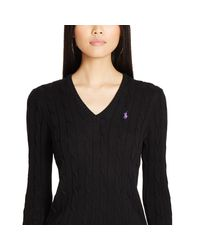 Polo Ralph Lauren - Black Cable Cotton V-neck Sweater - Lyst