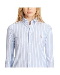 Polo Ralph Lauren - Blue Striped Knit Oxford Shirt - Lyst